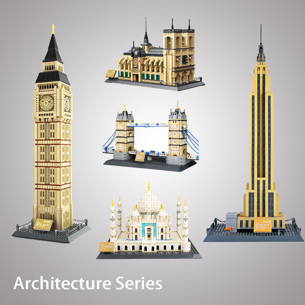 LOCKings City Toys World landmark Architecture Building Blocks Big Ben Tower bridge of LODON Mahal Compatible