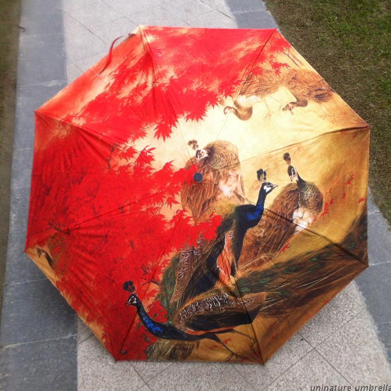 Fahion Painting Umbrella Three Fold Anti Uv Sun Protection Parasol