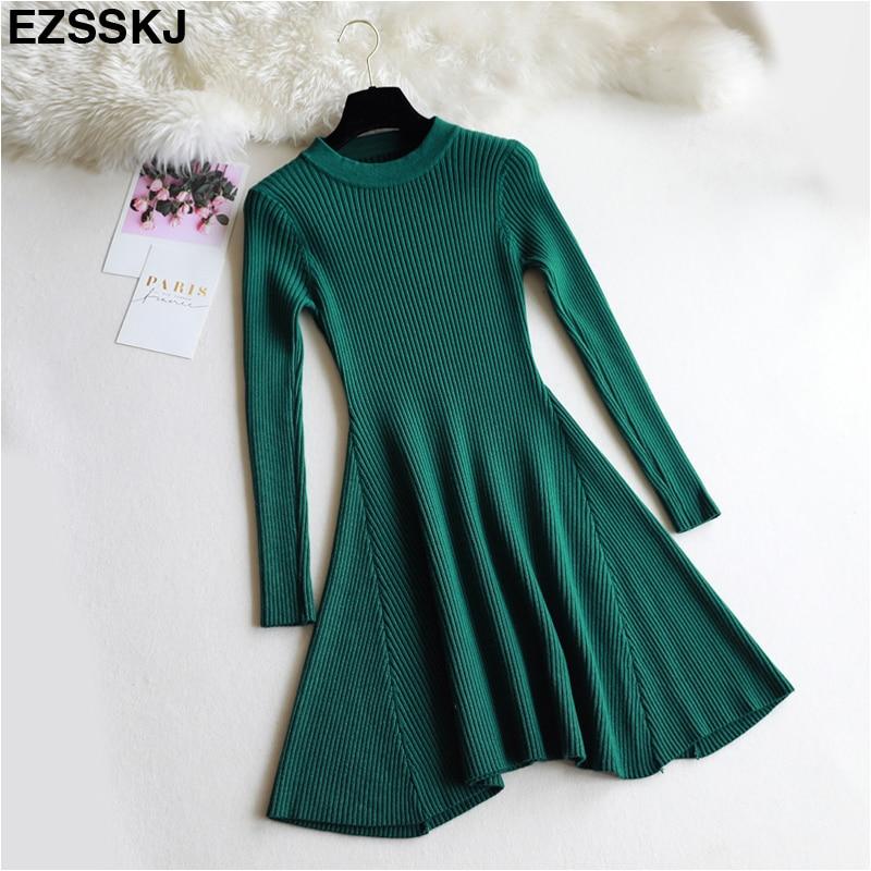 08de5b4558 chic Autumn Winter black Sweater Dress Women o neck Long Sleeve A Line  thick Knit mini Dress female girl short bodycon dress -in Dresses from  Women s ...
