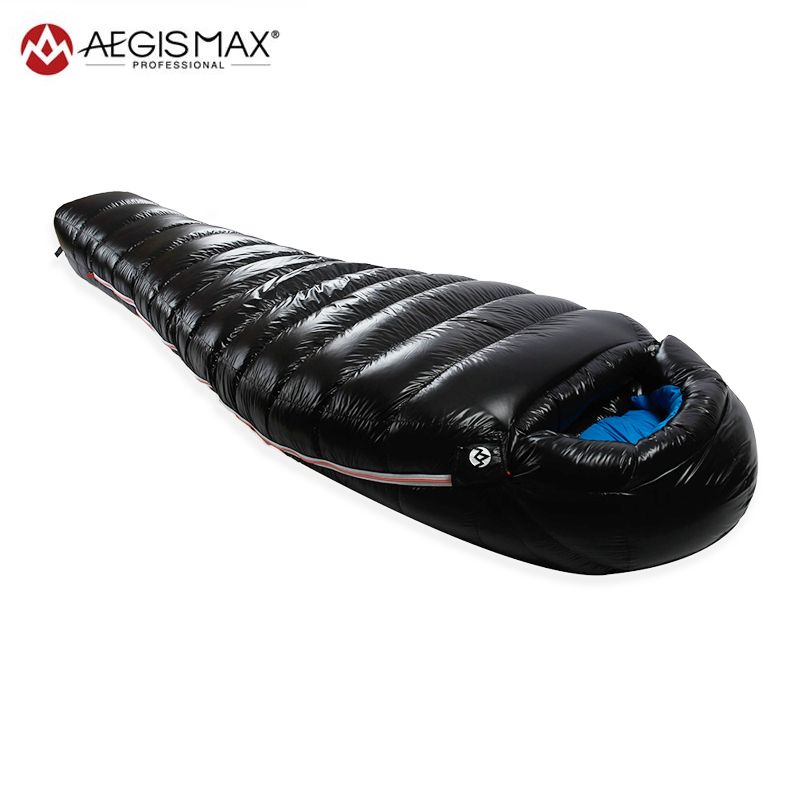 где купить AEGISMAX D1 D2 90% White Duck Down Mummy Sleeping Bag Outdoor Camping Ultralight Lengthened Winter Warm Adult Sleeping Bag 650FP дешево