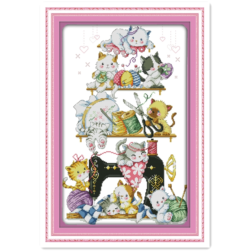 The Kitten Beside The Sewing Machine (2) cross-stitch kits-for-embroidery Chinese Counted Cross Stitch Patterns Needlework