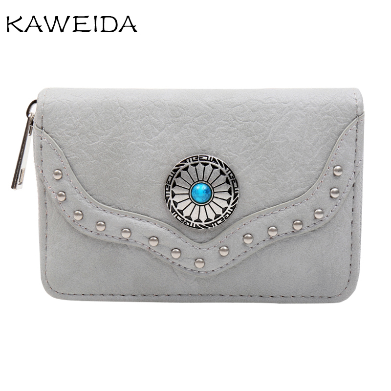 New Lady Wallets Buy 3 Get 4 Short Style PU Leather Wallets Brand Designer Purses Card Holders Small Wallet Rivet Dot Sun Flower in Wallets from Luggage Bags