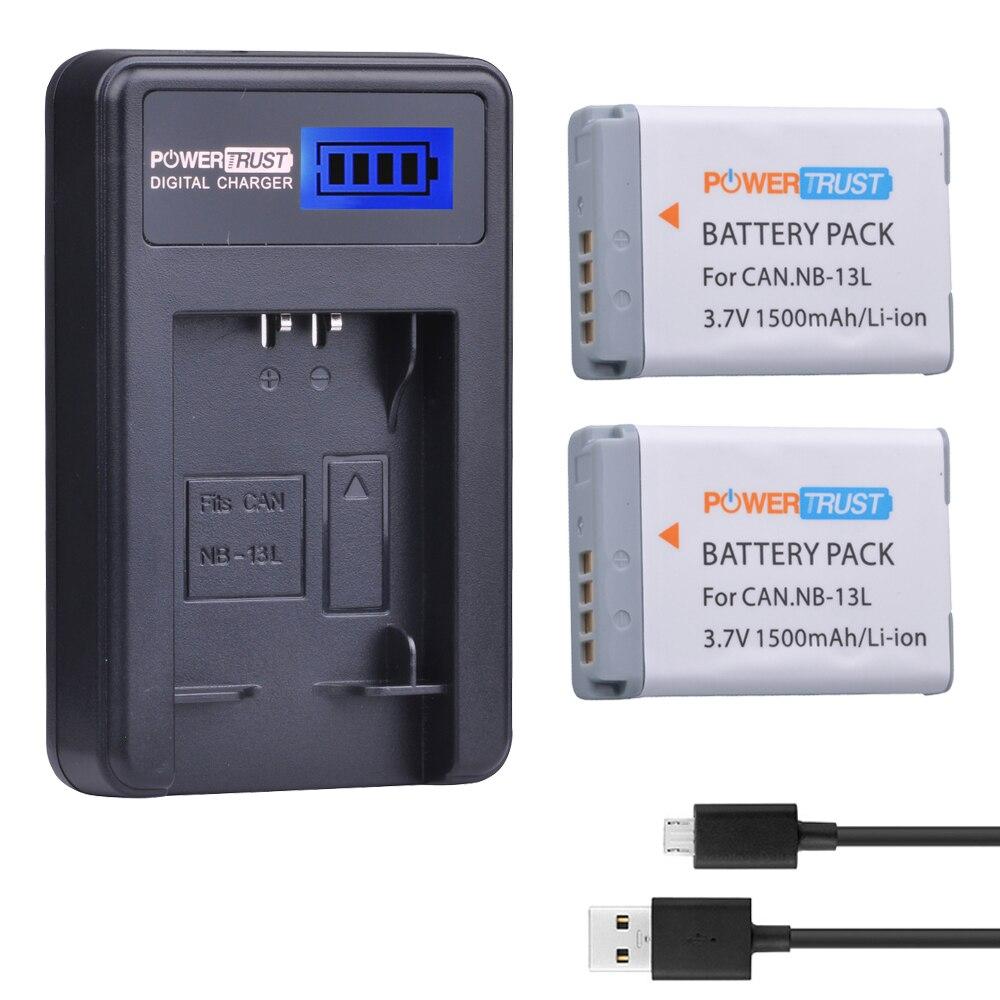 2 pièces NB-13L NB 13L NB13L batterie + LCD chargeur USB pour Canon PowerShot G5X G7X G9X G7 X Mark II G9 X, SX620 SX720 SX730 HS