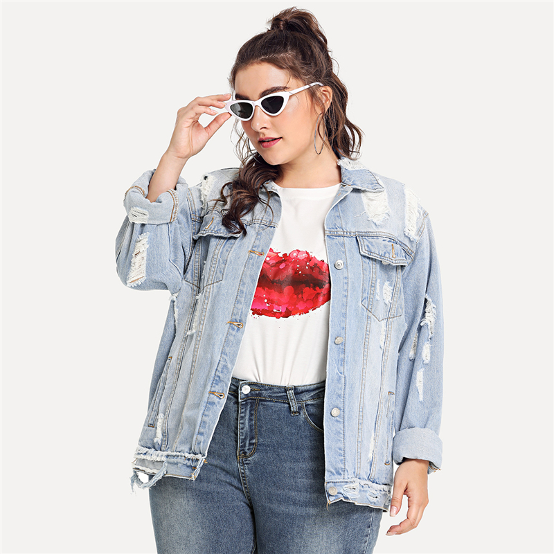 Plus Size Blue Ripped Bleach Wash Jeans Jacket For Women