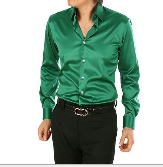 Весна Осень новый стиль мужчины шелковая рубашка Смокинг Рубашки плюс размер: S-XXXXXL мужская slim fit рубашки Высокого качества рубашки мужчины