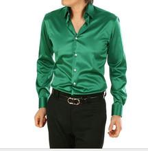 Wiosenny i jesienny nowy styl mężczyźni jedwabna koszula Tuxedo koszule plus rozmiar S-XXXXXL męskie koszule slim fit sukienka wysokiej jakości koszule męskie tanie tanio SA01600 Pełna Stałe SILK Skręcić w dół kołnierz Suknem Pojedyncze piersi REGULAR S M L XL XXL XXXL XXXXL XXXXXL