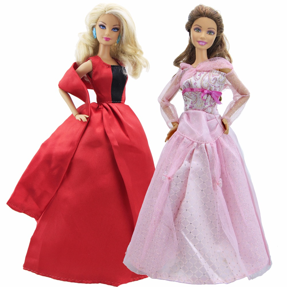 Handmade Wedding Dress Dinner Party Gown Mixed Style Long Skirt Clothes For Barbie  Doll Dollhouse Accessories a07e9b21b9a5
