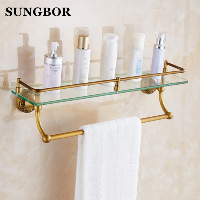 European Antique Brass Wall-mounted Bathroom Shelf Shower Storage Rack Shampoo Bath Towel Tray Single Tier Wall Toilet Glass