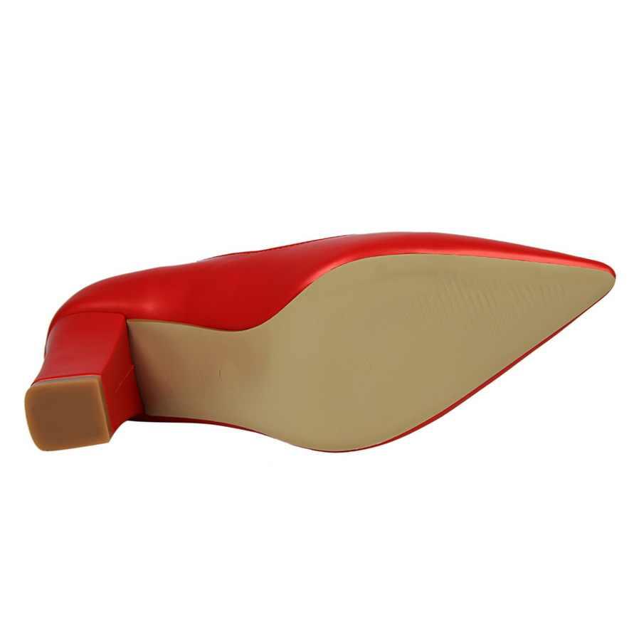 Kadın pompaları rahat kalın yüksek topuk 8CM deri mizaç sığ ağız sivri tek kadın ayakkabı oymak