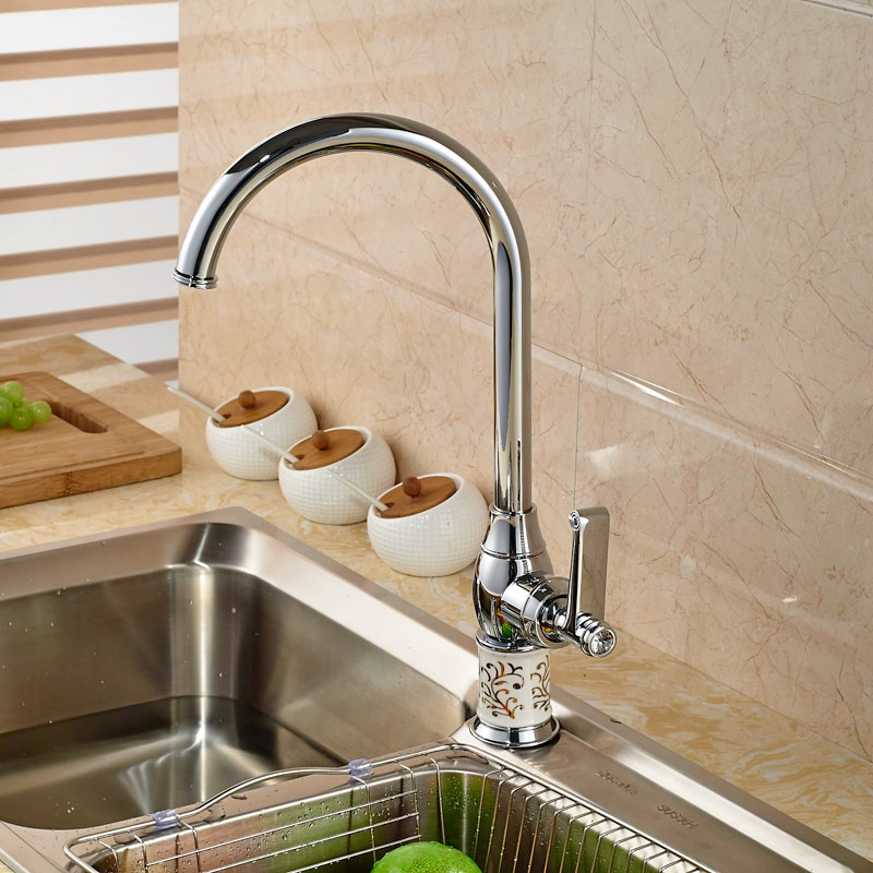 ФОТО Chorme Polish Kitchen Tap Pull Out Sprayer Tap Hot&Cold Faucet Deck Mounted Tap