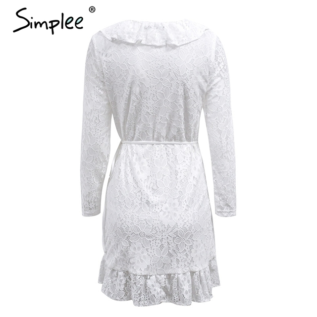 Simplee Sexy v neck ruffles lace dress women Side lace up long sleeve black summer dress 2017 elegant party dress robe femme