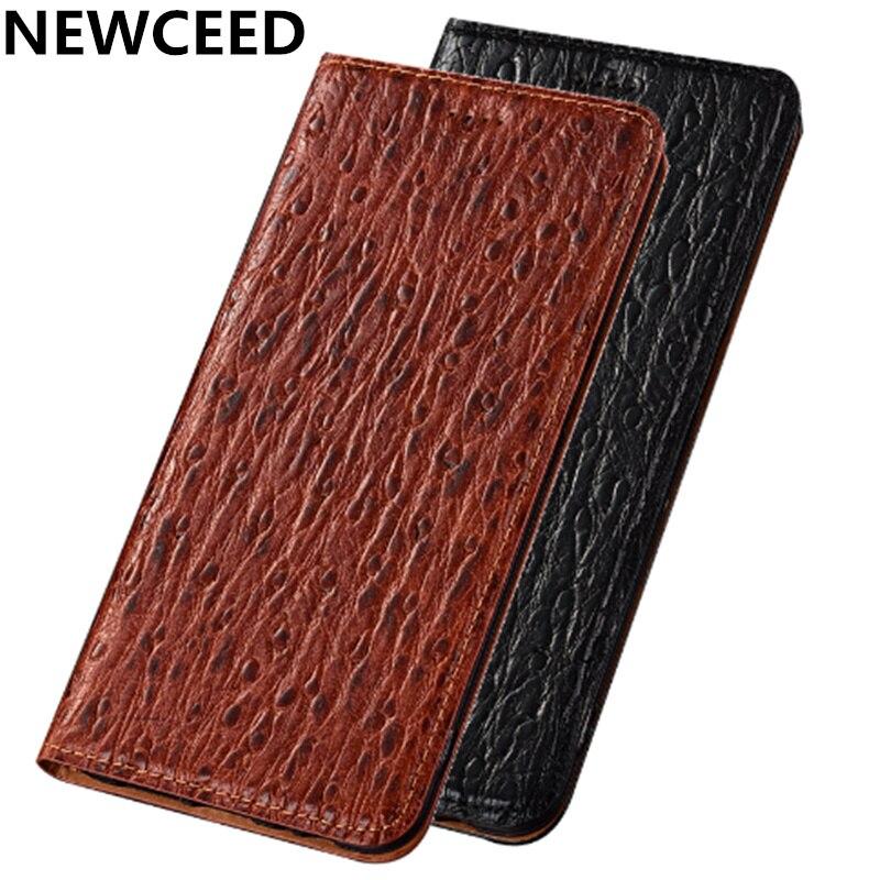 Ostrich pattern cowhide leather retro vintage phone bag for Asus Zenfone Max Pro M1 ZB602KL/Zenfone Max M1 ZB555KL magnetic case