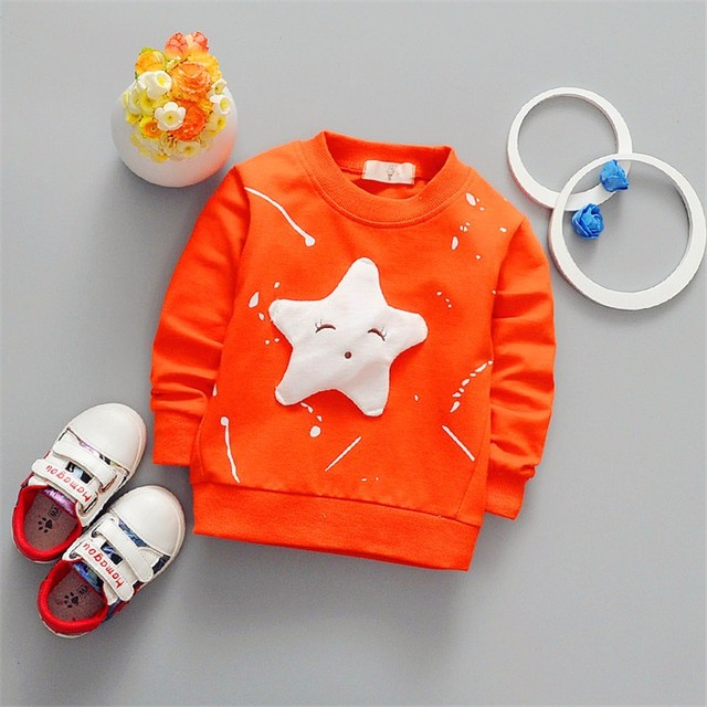 Girls Cartoon Long-Sleeved Round Neck Cotton Cartoon Shirt