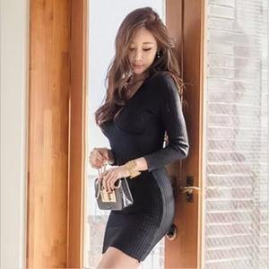 Image 3 - 스웨터 드레스 긴 소매 붕대 bodycon 드레스 v 목 블랙 화이트 니트 드레스 가을 겨울 부드러운 높은 탄성 섹시한 드레스
