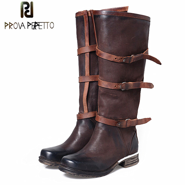 Prova Perfetto British Style Buckle Belt High Quality Real Leather Knee High Boot Zipper Mixed Color  Women Fashion Knight Boot