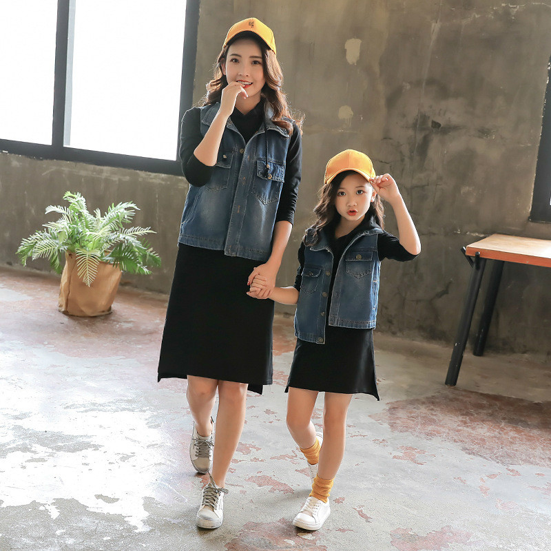 Mother and Kids Suit Parent child Dress Baby Girl Autumn Jeans Purity Daughter Mom Sets Fashion Toddler Family Matching Outfits