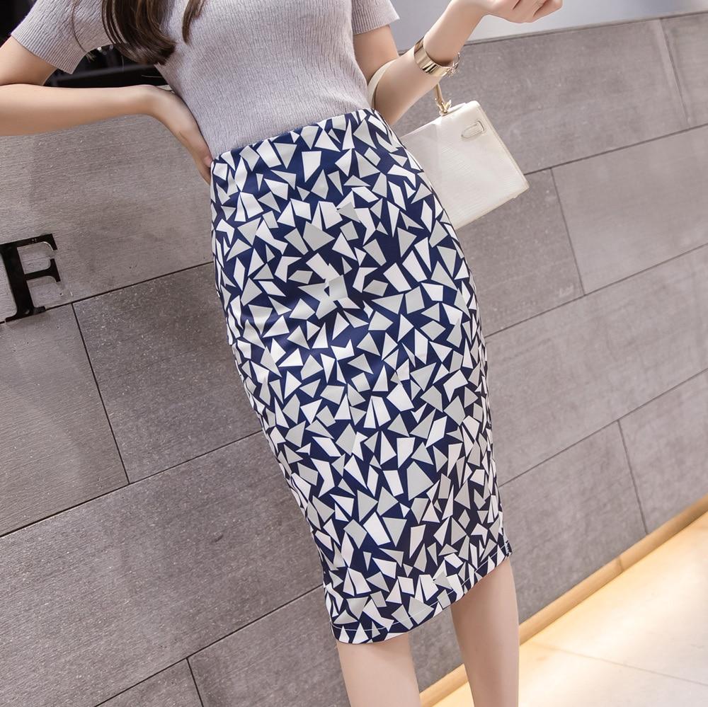 Summer Sexy Split Pencil Skirt For Women 2019 Fashion High Waist Ladies Vintage Elegant Bodycon Geometric Print Midi Skirt