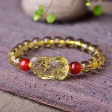 Genuine Natural Yellow Citrine Quartz Gemstone Crystal 8mm Round Beads Women Bracelet Pi Xiu Pendant 33x20x18mm Stone AAAAA