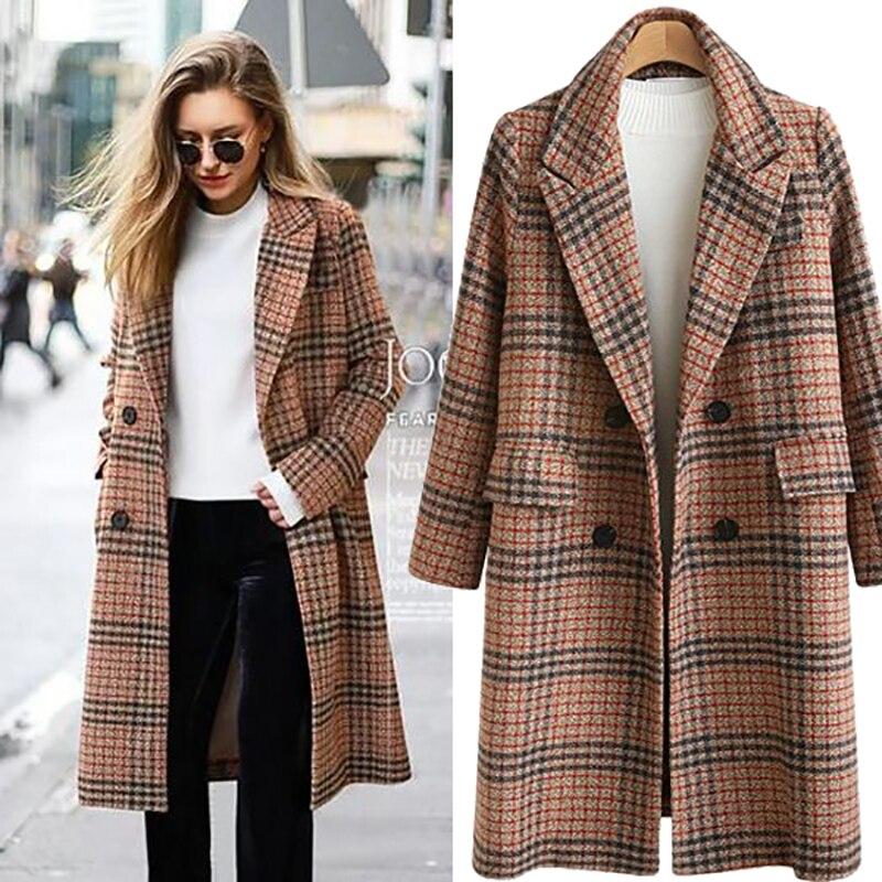 2018 Herbst Winter Mantel Frauen Lange Zweireiher Wolle Mantel Für Frauen Plaid Langarm Jacken Casaco Feminino Plus Größe 4xl