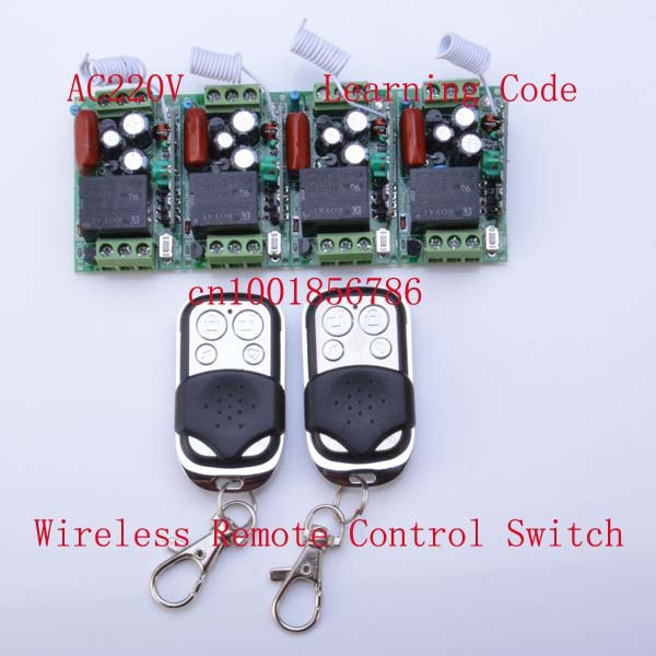 220V 1CH 10A RF Wireless Remote Control Power Switch System ;4 Receivers(Mini size)+2Transmitter M T L output state is adjusted 220v wireless remote control switch system rf 4 receivers 3transmitter for led light lamp freeshipping