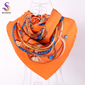 "2017 Orange Letter Ladie Silk Scarf"" H"" Style 100% Silk Twill Square Scarves Wraps Winter Spring Chain Diamond Satin Scarf Cape"