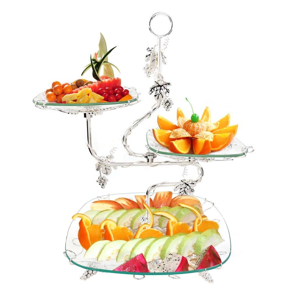 3-Tier Gâteau Plaque StandHandle Couronne Montage Cercle Rond Affichage De Noce Hôtel Dessert Décor Fruits Gâteau Plateau De Fruits