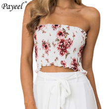 2019 Women Crop Tops Bandeau Female Summer Off Shoulder Tank Top Bralett Floral Print Frill Sexy Underwear Sleeveless Woman Vest off shoulder frill trim rib knit crop tee