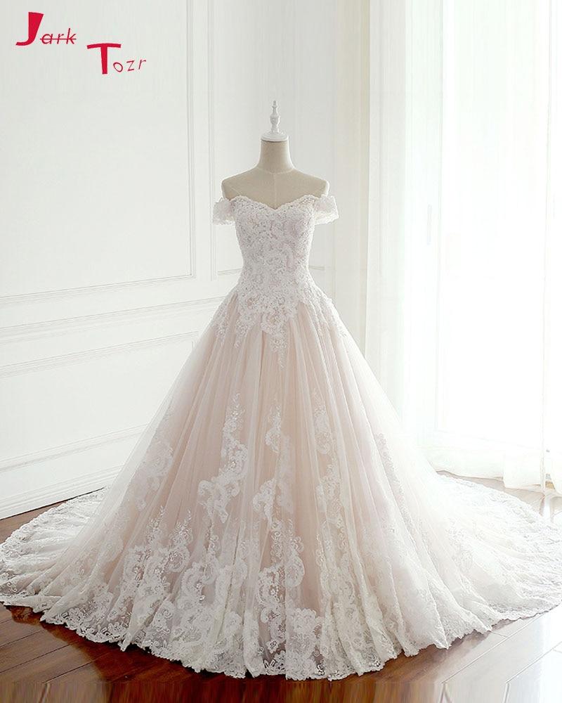 Jark Tozr 2017 New Listing Princess Wedding Dresses Turkey White Appliques Pink Satin Inside Elegant Bride Gowns Plus Size