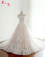Jark Tozr 2017 New Listing Princess Wedding Dresses Turkey White Appliques Pink Satin Inside Elegant Bride