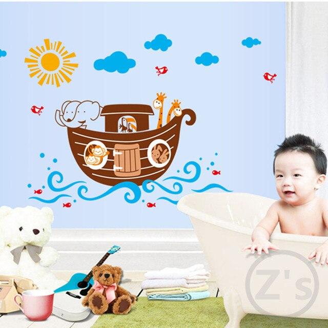 Zs Aufkleber Nette Schiff Badezimmer Dekor Baby Dusche Dekoration Wand  Aufkleber Für Kinder Kinderzimmer Dekor Glas