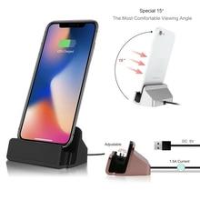 1680a9e2412 2 en 1 Cable USB de datos cargador de teléfono base de carga para iPhone X  XS Max XR 6 6 S 7 8 Plus 5 SE soporte de escritorio