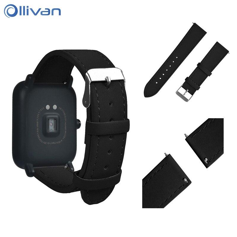 Ollivan Mosaïque En Cuir Montre Smart Watch Bracelet Pour Xiaomi Huami Amazfit Bip PEU RYTHME Lite Jeunes Rapide Remplacement Bracelet En Cuir