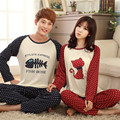 2016 New Casual Couple Pajamas Sets Pyjamas men Man Cartoon Print Home Sleepwear Lover's Clothes Pijama masculino