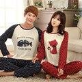 2016 Novo Casal Pijamas Conjuntos Pijamas dos homens do Homem Ocasional Dos Desenhos Animados Impressão Sleepwear Casa Roupa do Amante Pijama masculino