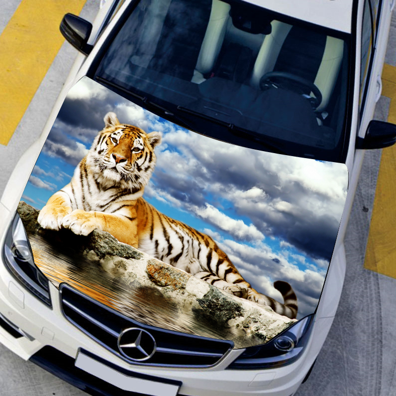 Car styling sticker car covers hood protection film HD Animals Tiger Exterior accessories stickers Car accessories,135*150cm hot sale 1pc longhorn hilux 900mm graphic vinyl sticker for toyota hilux decals badges detailing sticker car styling accessories