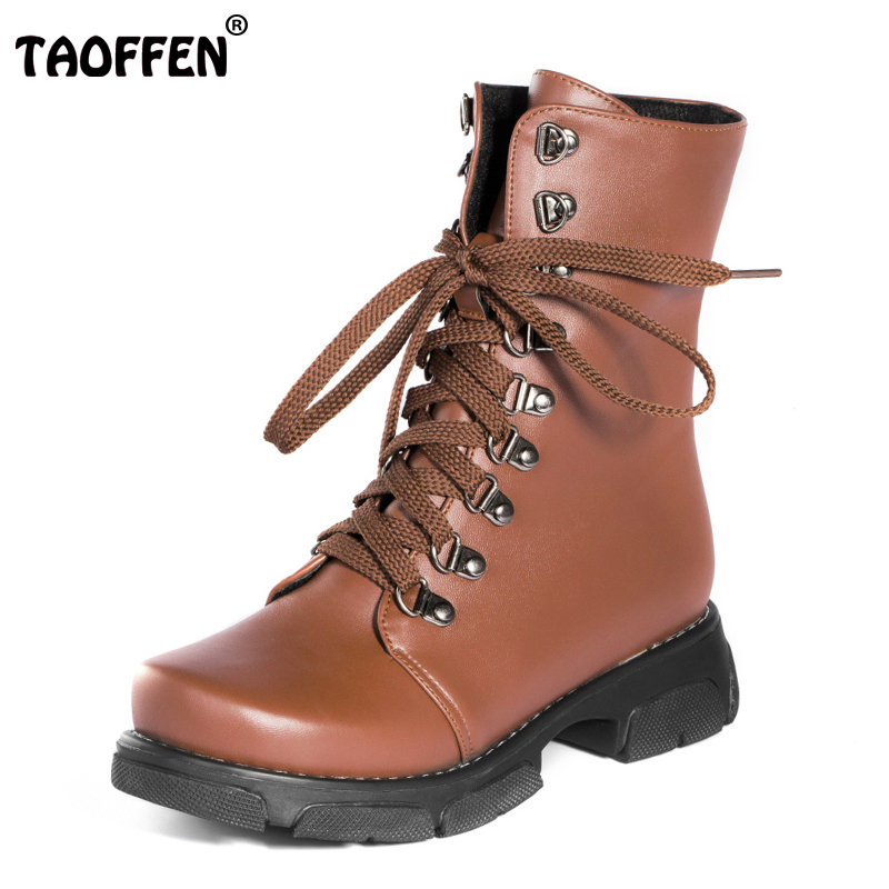 TAOFFEN Size 34-43 Women Half Short Flats Boots Cross Strap Flat Boots Women Warm Fur Shoes Cold Winter Botas Woman Footwears