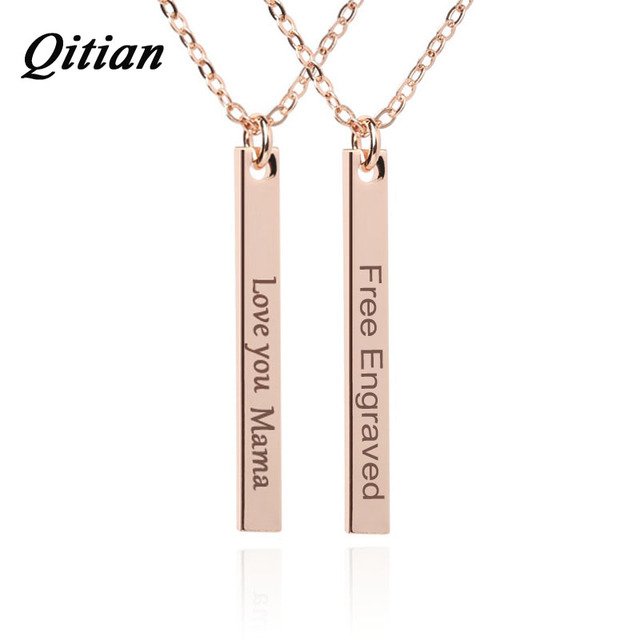 QITIAN Rose Gold Color Name Date Bar Necklace Women DIY Custom Free