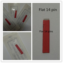 50 PCS Flat Needle Red 14 Pin Permanent Makeup Blade For Manual Eyebrow Tattoo Pen Microblading Embroidery