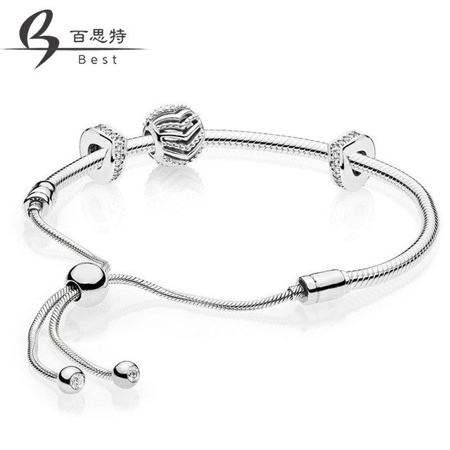 BEST 100% 925 Sterling Silver 2019 New Shimmering Stylish Wish Charm Beaded Gift MOMENTS SLIDING BRACELET Set Adjustable SizeBEST 100% 925 Sterling Silver 2019 New Shimmering Stylish Wish Charm Beaded Gift MOMENTS SLIDING BRACELET Set Adjustable Size