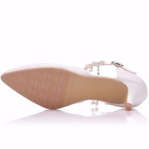 Image 2 - Crystal Queen sandales à talons hauts pour femmes, 5cm, chaussures dété à bout pointu, simple, strass, chaussures pour les dames Mary Janes