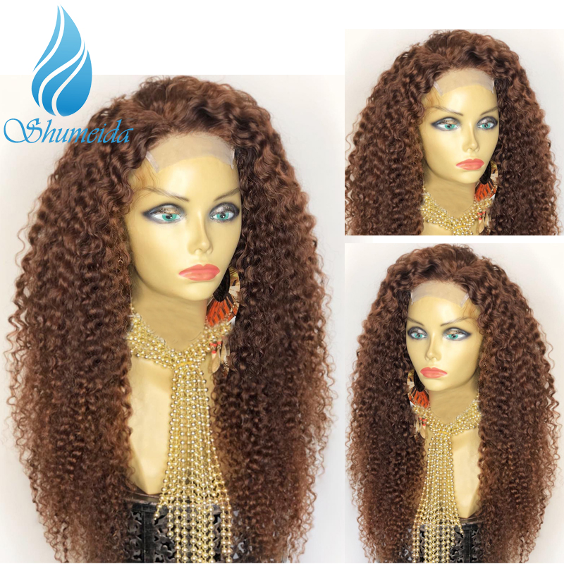 SHUMEIDA Peruvian Kinky Curly 360 Lace Frontal Wigs With Baby Hair Brown Color Lace Front Wig Remy Human Hair Wig Bleached Knots