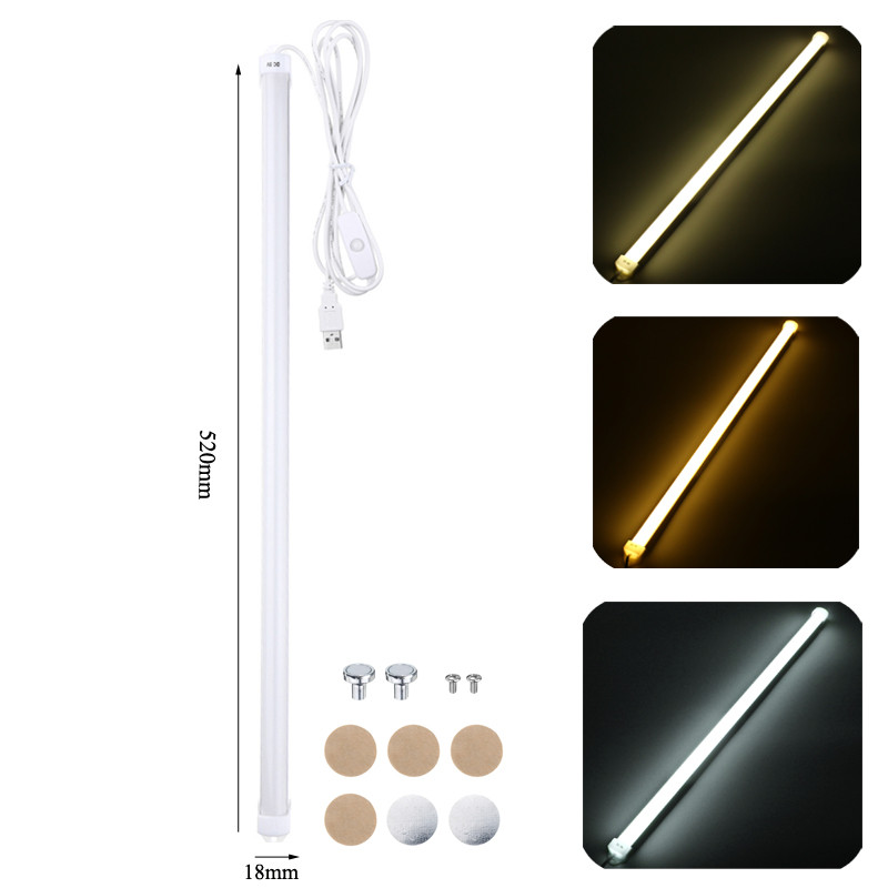 Smuxi 52CM USB LED Rigid Bar Lights Portable Hard LED Strip Lamp With Switch Night School Reading Book Desk Lighting Bulb
