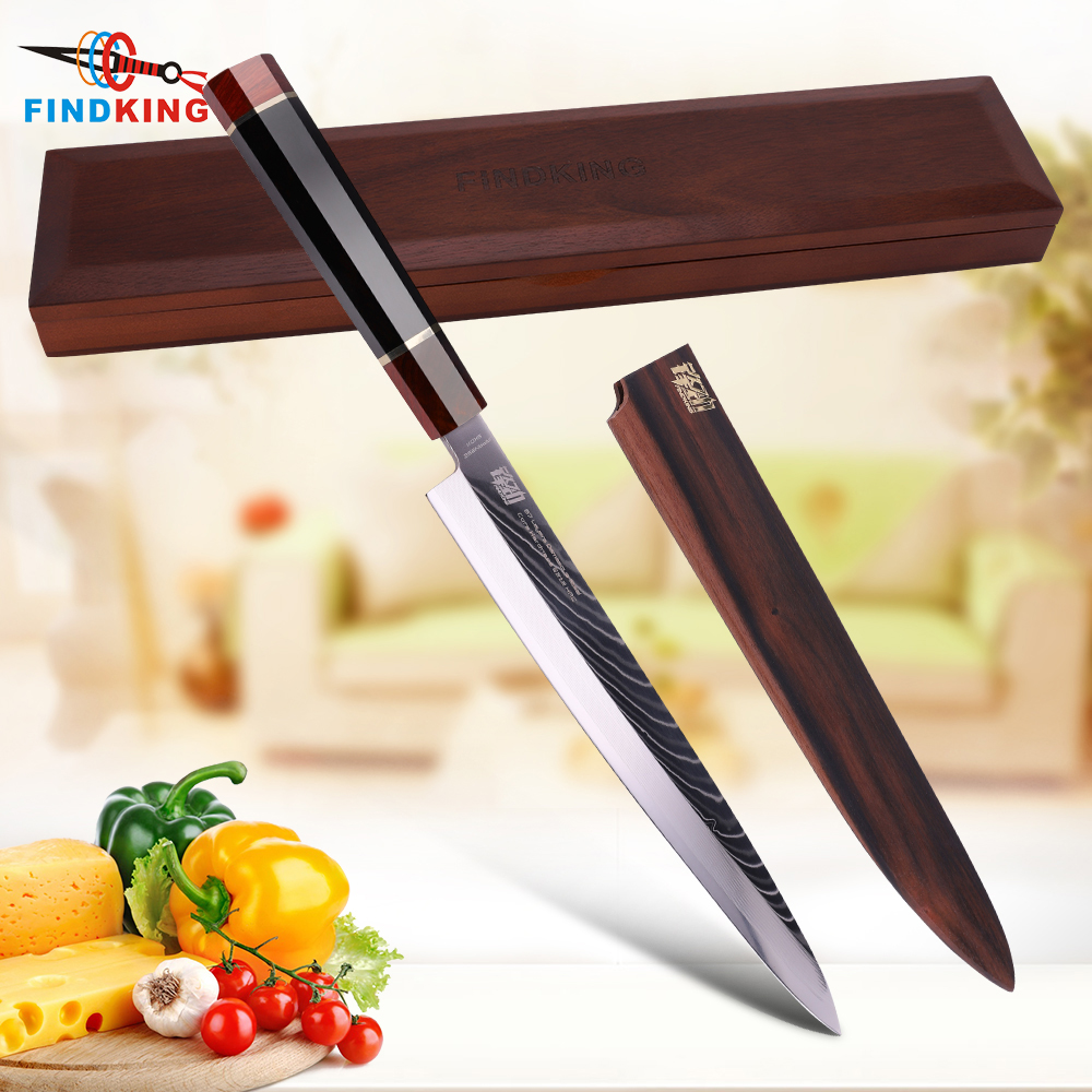 10 5 Yanagiba Knife by Findking Prestige series 67 layers Japanese SKD11 damascus steel w octagon
