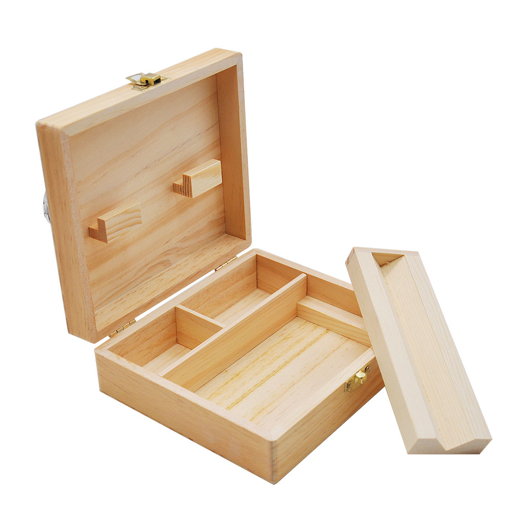 HORNET Wooden Stash Box With Rolling Tray Natural Handmade Wood Tobacco  And Herbal Storage Box For Smoking Pipe Accessories