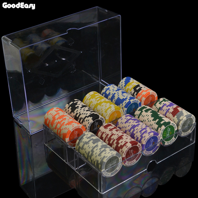 100&200pcs/set Casino Clay Wheat Double Color Poker Chip Sets High Qulaity Cheap Pokerstar Set with Acrylic Tray 7pcs promotion 2 color dice set with nebula effect poker d