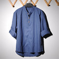 New Flax Men's Shirts Plus Size Long Sleeve Solid Linen Casual Shirts Men Camisas Masculinas Summer Style Brand Clothing A1367