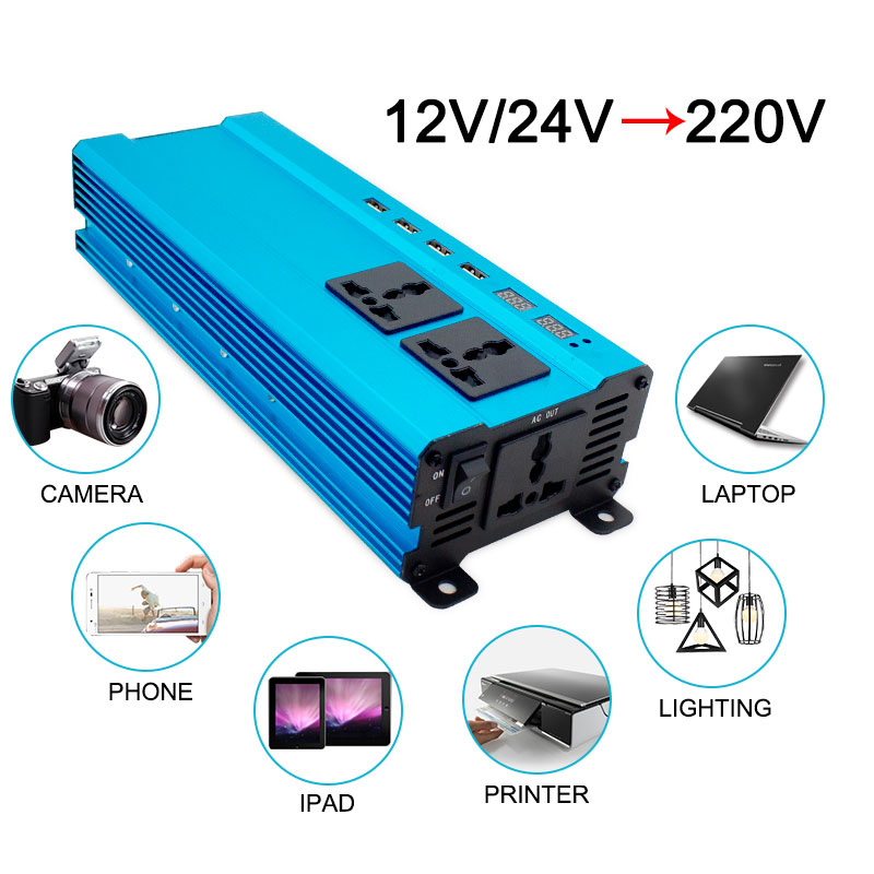 6000W 10000Watt 4USB DC 12V to AC 220V Portable Car Power Inverter Charger Converter Adapter DC 12 to AC 220 Modified Sine Wave