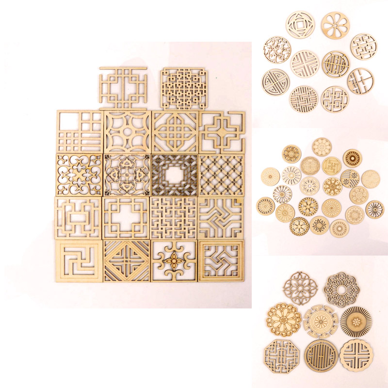 Chinese Style Retro Frame Wooden Round Square Scrapbooking Craft Handmade Accessory Sewing Home Party Decoration DIY 64mm