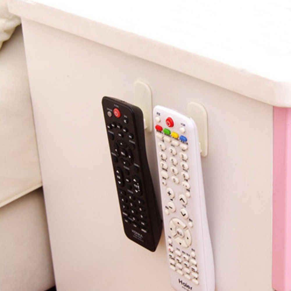 Crochet en plastique 2 paires (4 pièces) | Crochet collant, ensemble de crochets, TV, climatiseur, télécommande, clé, pratique, support de rangement mural, résistant