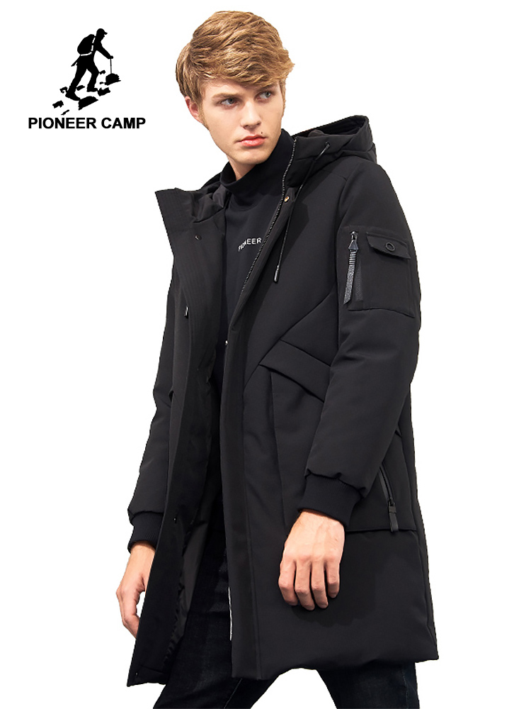 Пионерский лагерь водонепроницаемый материал толстый пуховик зимняя куртка брендовая мужская одежда мода с капюшоном теплая утка пуховик ...